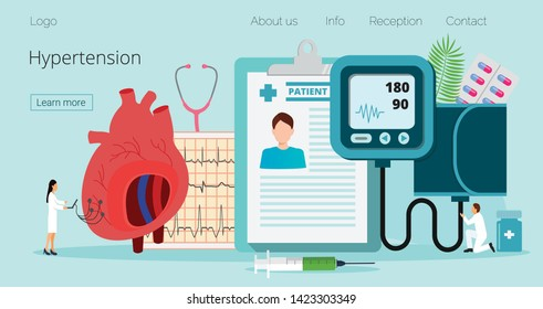 Health concept of hypotension and hypertension disease tiny doctors treat. Symptoms and prevention blood pressure health or healthy vector, it is landing page, website, app, banner.