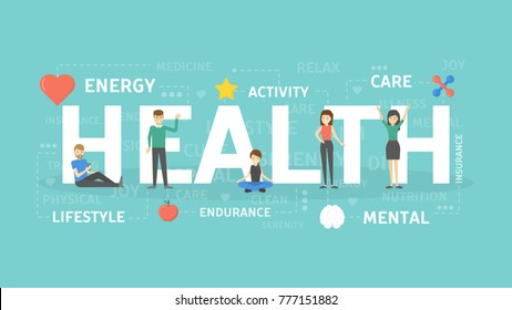 Health concept illustration. Idea of life, energy and wellbeing.