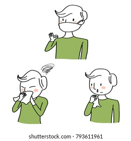 Health concept with set of man suffering from flu symptoms such as headache, coughing, sneezing, runny nose including man with ok hand sign wearing hygiene mask for preventing the spread of flu.