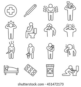 Health conditions icons set. Sickness and disease states.Thin line design