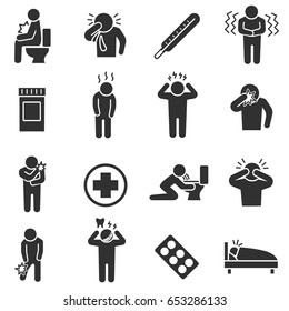 Health conditions, sickness. Monochrome icons set. Disease states. Health conditions , simple symbols collection