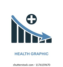 Health Decrease Graphic icon. Monochrome style design from diagram collection. UI. Pixel perfect simple pictogram health decrease graphic icon. Web design, apps, software, print usage.