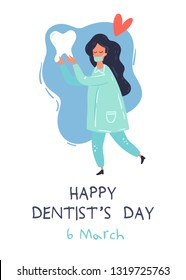 Health Dent design vector template. Happy Dentist's day card. The doctor with the tooth. Dental clinic poster, card, information background concept. Health tooth in a form of heart.
