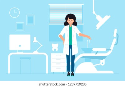 Health Dent illustration design. Vector template flat style. Dental clinic concept . The woman stomatology character in the dental room with the medical equipment, chair, stomatology machine.