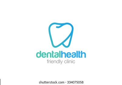 Health Dent Logo design vector template linear style. Dental clinic Logotype concept icon.