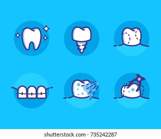 Health Dent Logo design vector template flat line style. Dental icons set, different dental deseases. Cosmetic dental dentistry. Dental clinic. Logotype concept icon. Health tooth poster or card.