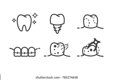 Health Dent Logo Design Vector Template Flat Line Style Cosmetic Dental Dentistry Clinic