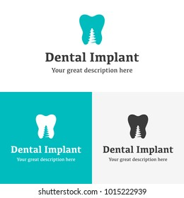 Health Dental implant Logo design vector template flat style. Dental clinic Logotype concept icon. Beautiful woman smile with the gorgeous white teeth.