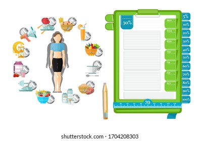Health diary. Woman with her schedule diet from left. Template of notebook paper for notice right. Vector illustration design on white