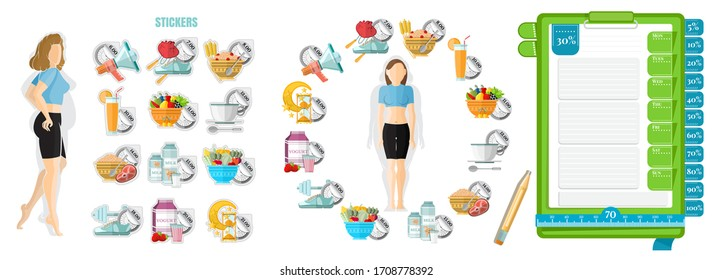 Health diary. Woman with her schedule diet from left. Template of notebook paper for notice right and stickers of diary. Vector illustration design on white