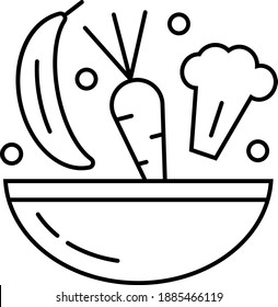 Health diet icon in outline style. Carrot, broccoli, banana, green peas, bowl are shown.