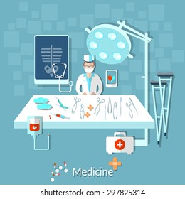 Health doctor operating room medical instruments treatment crutches pills drugs vector illustration