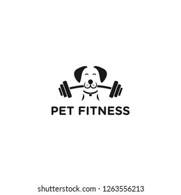 Health dogs do fitness sports by biting the barbell.