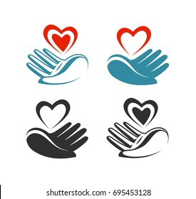 Health, donation, charity logo or label. Hand holding heart, symbol. Vector illustration