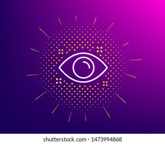 Health eye line icon. Halftone pattern. Oculist clinic sign. Optometry vision symbol. Gradient background. Health eye line icon. Yellow halftone pattern. Vector