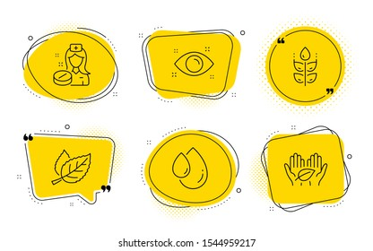 Health eye, Oil drop and Fair trade signs. Chat bubbles. Nurse, Gluten free and Leaf line icons set. Medicine pill, Bio ingredients, Nature leaves. Optometry. Healthcare set. Line nurse icon. Vector