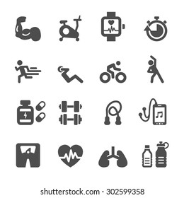 health and fitness icon set, vector eps10.