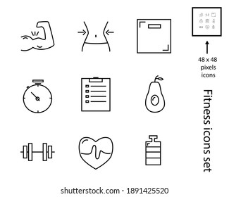 Health and fitness icons set: dumbbell, diet, food, biceps, timer.  Vector symbol collection. EPS 10