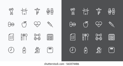 Health and Fitness silhouette icons flat line design vector .for Web and Mobile.