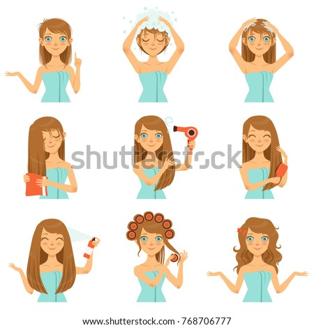 Health hairs protection. Teen washing face and long hairs. Woman face beauty and procedure washing. Vector illustration
