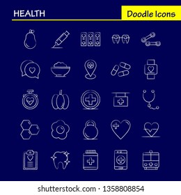 Health Hand Drawn Icon for Web, Print and Mobile UX/UI Kit. Such as: Medical, Heart Beat, Beat, Emergency, Pear, Medical, Hospital, Pictogram Pack. - Vector