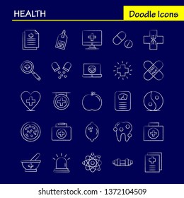 Health Hand Drawn Icon for Web, Print and Mobile UX/UI Kit. Such as: Ambulance, Medical, Healthcare, Hospital, Medical, Pills, Tablet, Medicine, Pictogram Pack. - Vector