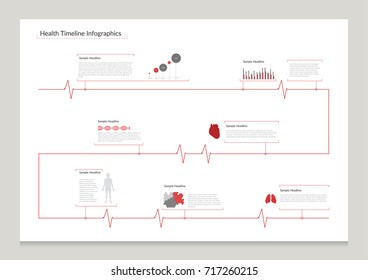 Health Heart beat Timeline Infographic. Vector illustration