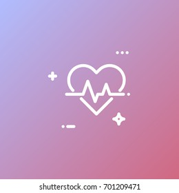 Health and heart, well-being, cardiogram vector icon on a gradient background