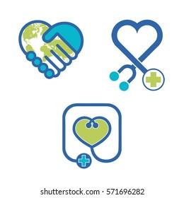 Health heart world best icon set in vector format
