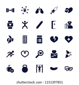Health icon. collection of 25 health filled icons such as apple, squat, heart, injection, bandage, doctor prescription, kettle. editable health icons for web and mobile.