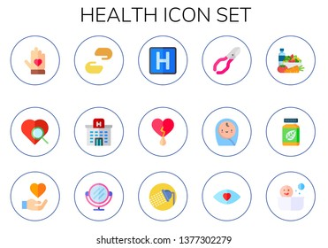 health icon set. 15 flat health icons.  Simple modern icons about  - voluntary, heart, charity, hospital, nail clippers, baby, diet, herbal, care, mirror, shower, eye