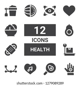 health icon set. Collection of 12 filled health icons included Voluntary, Fried egg, Love, Vector, Weight, Bandage, Avocado, Watermelon, Heart, Salad, Bucket, View