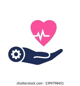 Health icon with settings sign. Heart pulse icon and customize, setup, manage, process symbol