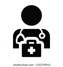 Health icon vector male doctor person profile avatar with Stethoscope and first aid kit bag for Medical Consultation in Glyph Pictogram illustration