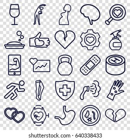 Health icons set. set of 25 health outline icons such as spray bottle, exercising, cocktail, soap, shower, tights, bandage, heart in gear, medical sign, heart, hand with heart