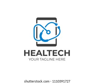 Health information technology logo template. Medical technology vector design. Tablet and mobile phone repair doctor logotype