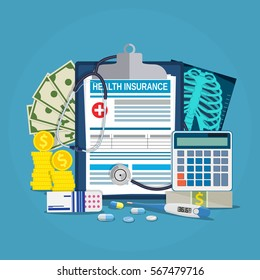 Health insurance calculation concept. Stethoscope, drugs, money, calculator, thermometer, x-ray .Vector illustration in flat style.