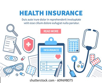 Health insurance concept banner. Vector flat line illustration.