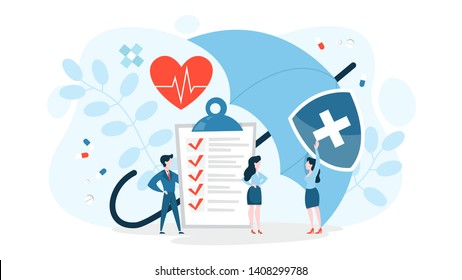 Health insurance concept. Big clipboard with document on it under the umbrella. Healthcare, finance and medical service. Isolated vector illustration in cartoon style