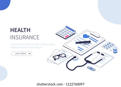 Health insurance concept. Can use for web banner, infographics, hero images.  Flat isometric vector illustration isolated on white background.