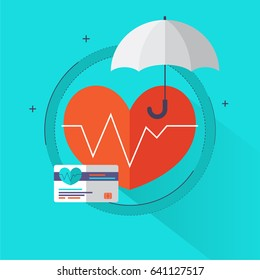 Health insurance concept - Health care info graphics elements in flat style icons such as heart, umbrella, card. Can be used for medical banner, hospital poster. Vector illustration.