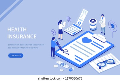 Health insurance concept with characters. Can use for web banner, infographics, hero images. Flat isometric vector illustration.