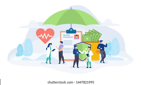 Health insurance concept flat vector illustration for landing page, banner, web design, business