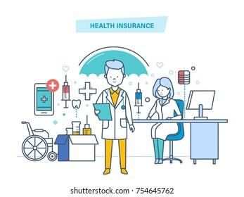 Health insurance concept. Life and accident medical insurance. Modern medicine, medical care, healthcare, protect and guarantee safety patients, first aid, ambulance. Illustration  line design of v