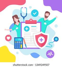 Konzept der Krankenversicherung. Vektorgrafik. Krankenversicherung. Moderne flache Gestaltungselemente für Webseiten, Webseiten, Vorlagen, Infografiken, Webbanner usw.