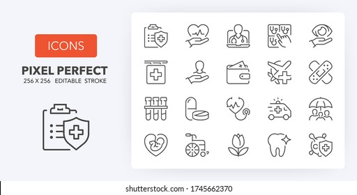 Health insurance coverage thin line icon set. Outline symbol collection. Editable vector stroke. 256x256 Pixel Perfect scalable to 128px, 64px...