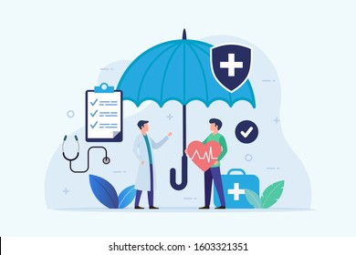 Health Insurance design concept with umbrella protection flat vector illustration