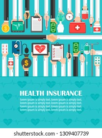 Health Insurance flat design.lorem ipsum is simply text.Vector illusttration