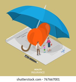 Health insurance flat isometric vector concept. People are standing on the signed health insurance policy, near them are a big heart symbol and all those elements are covered by the big umbrella.