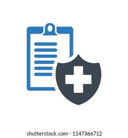Health insurance form - Vector illustration document blue
